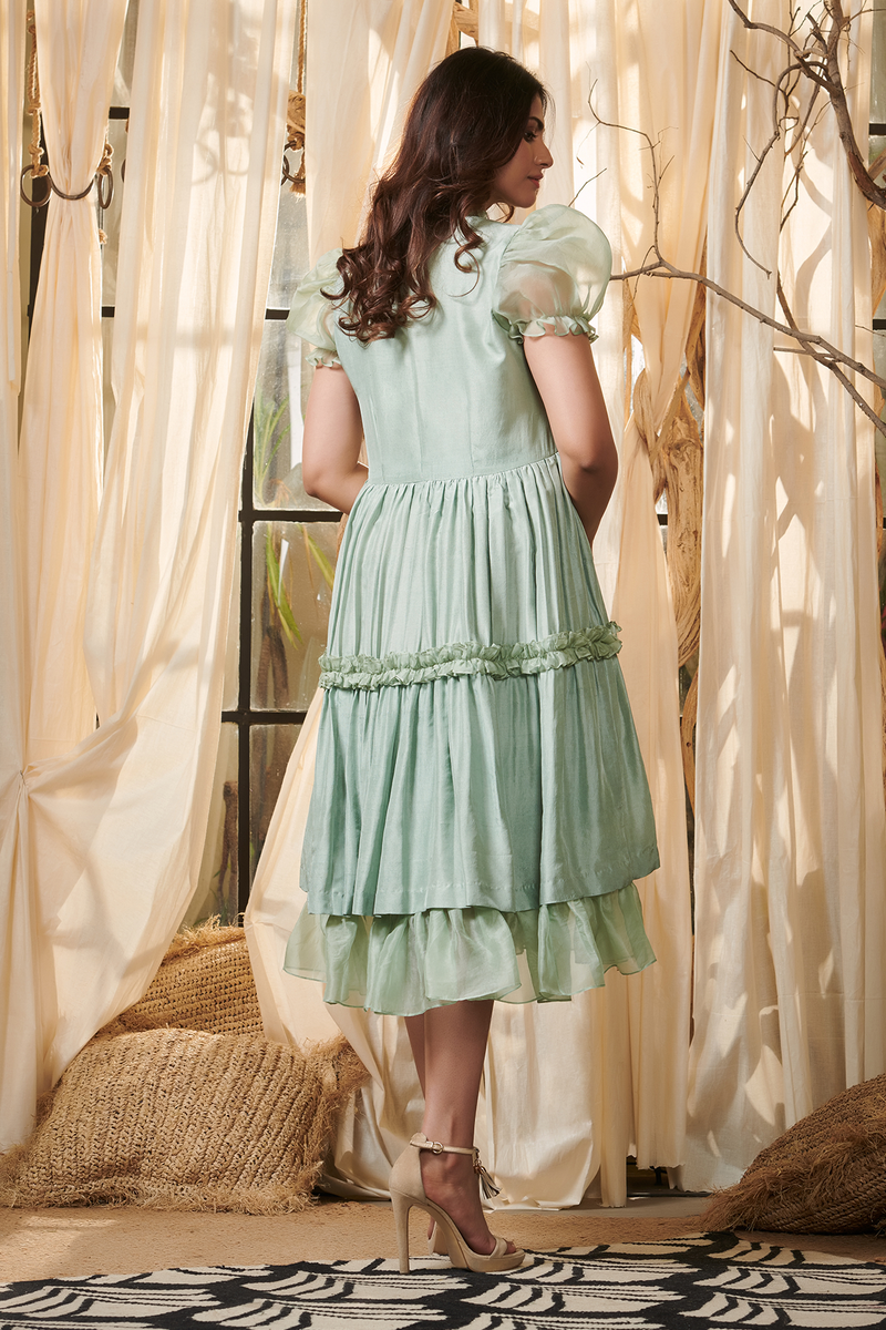Teal Organza Layered Dress