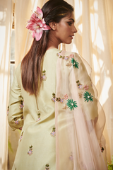 Sage Green Lily kurta with lehenga set