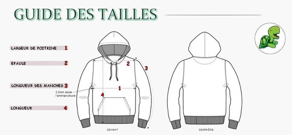 Guide taille pull sweat reptile