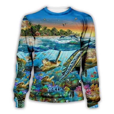 Pull Tortue Famille Marine
