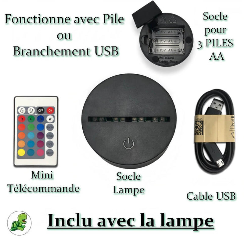 Socle Luminaire Tortue 3D Relaxante