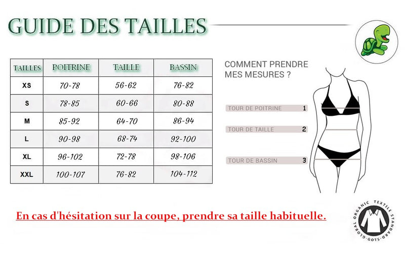 Guide taille maillot de bain nature