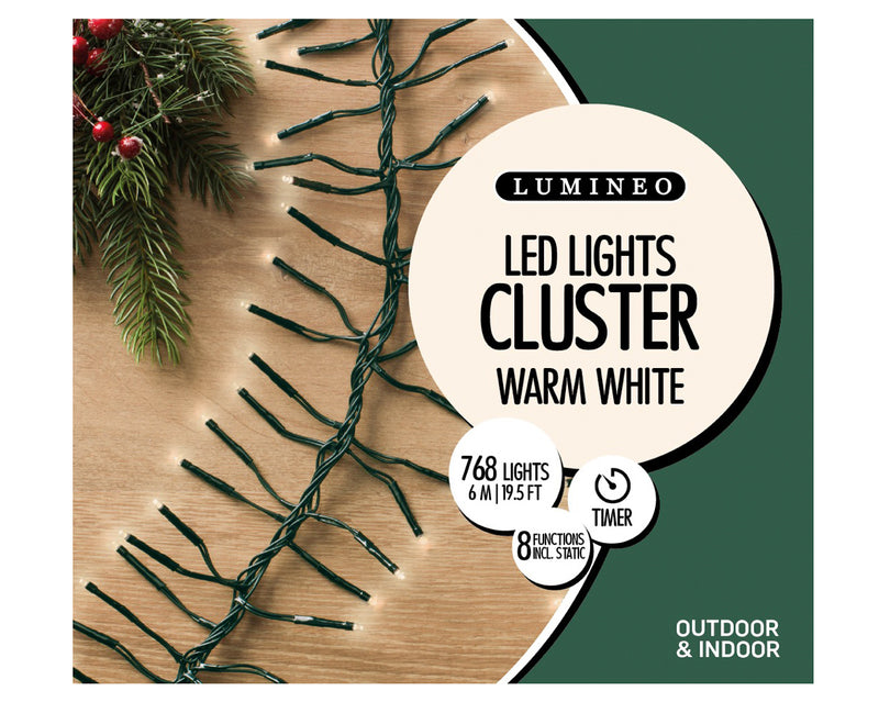 19.5 Ft. Clustered Warm White LED Christmas Lights
