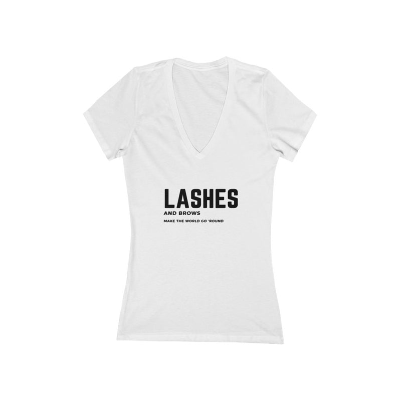 Lashes and Brows make the world go 'round™ Bella Canvas V-Neck T