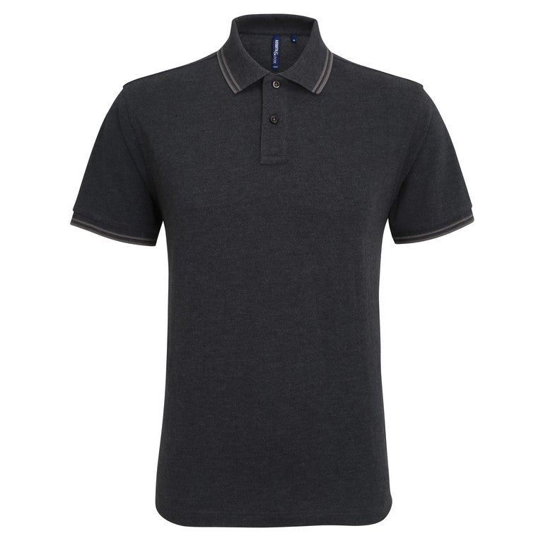 Unisex Tipped Polo Shirt (P011 (AQ011)) - Black/Heather