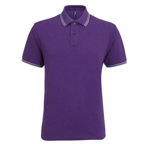 Unisex Tipped Polo Shirt (P011 (AQ011)) - Purple/Grey