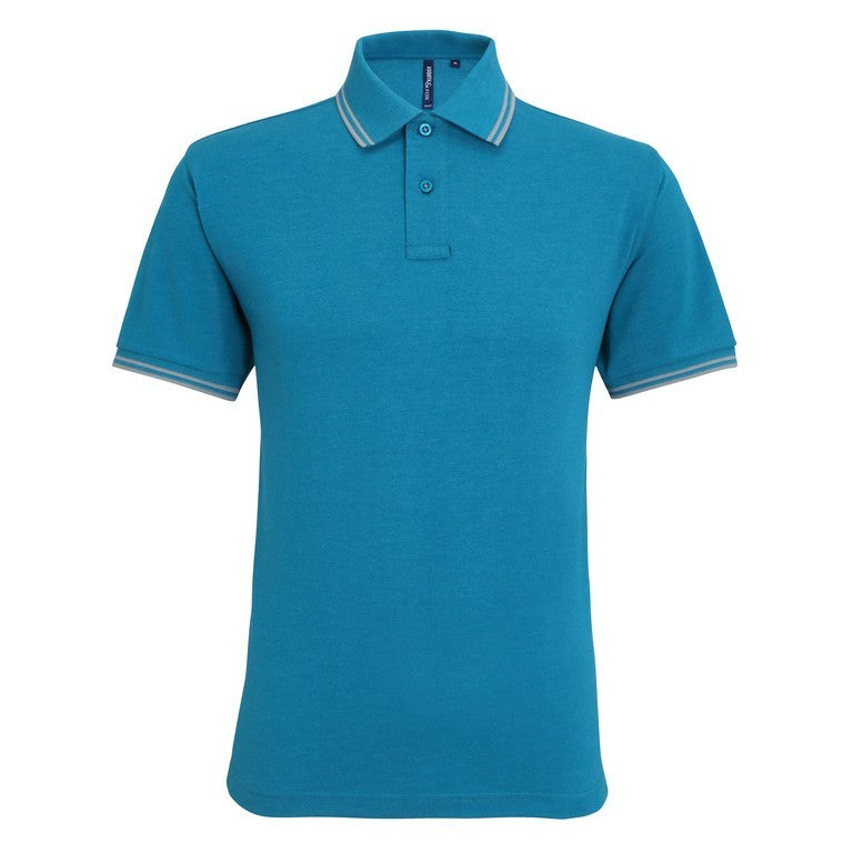 Unisex Tipped Polo Shirt (P011 (AQ011)) - Teal/Grey
