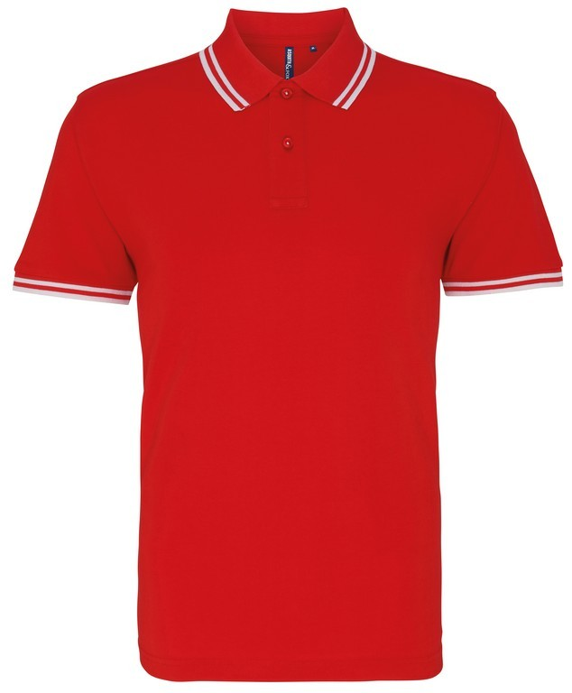 Unisex Tipped Polo Shirt (P011 (AQ011)) - Red/White
