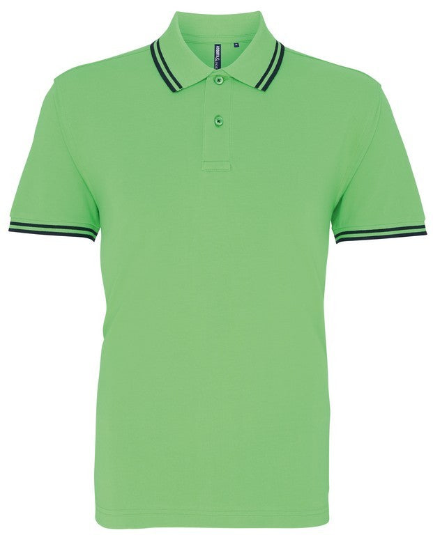 Unisex Tipped Polo Shirt (P011 (AQ011)) - Lime/Navy