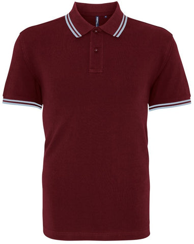 Unisex Tipped Polo Shirt (P011 (AQ011)) - Burgundy/Sky