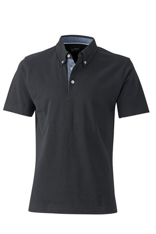 Men's Check Contrast Polo Shirt (P71 (JN964)) - Black / Light Denim