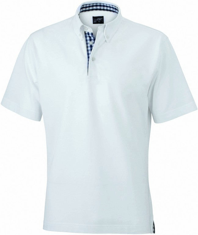 Men's Check Contrast Polo Shirt (P71 (JN964)) - White/Navy