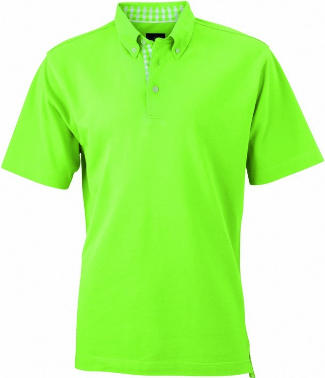 Men's Check Contrast Polo Shirt (P71 (JN964)) - Lime / White