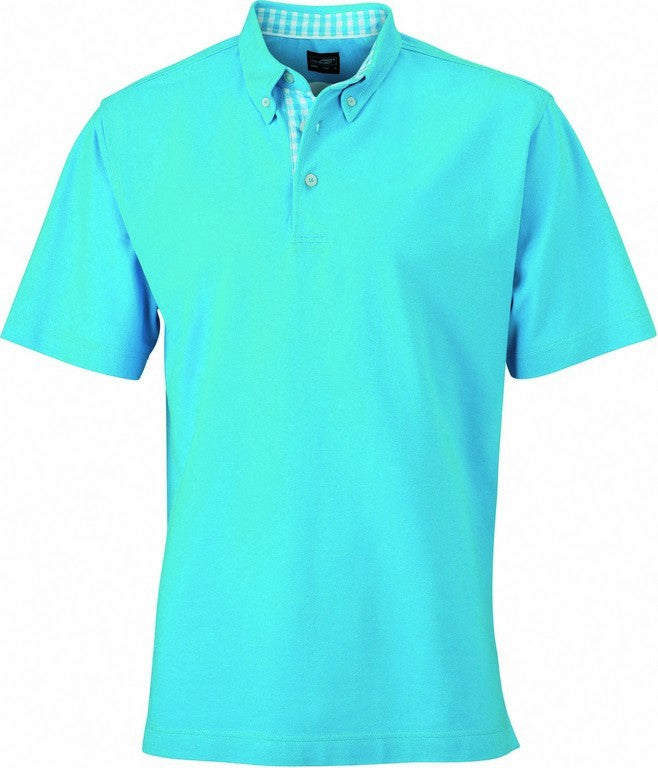 Men's Check Contrast Polo Shirt (P71 (JN964)) - Turquoise/White