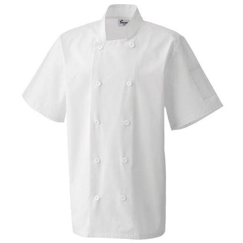 Unisex Short Sleeve Chefs Jacket Fixed Buttons (J184 (PR656)) - White