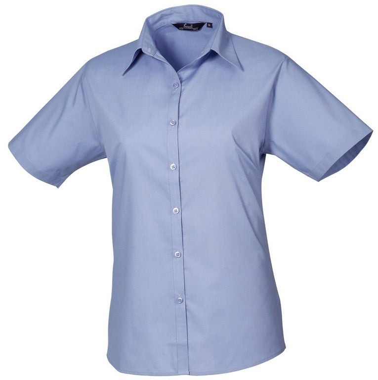 B30 Ladies Easycare Short Sleeve Blouse (PR302) - Mid Blue