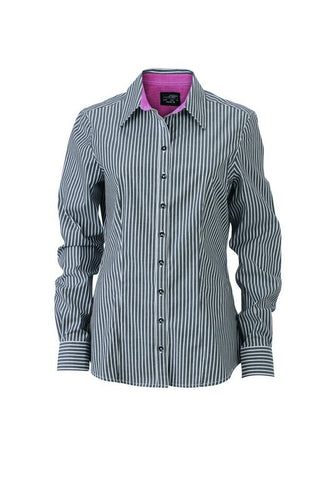 Ladies Contrast Stripe Blouse (B631 (JN631)) - Graphite/White/purple