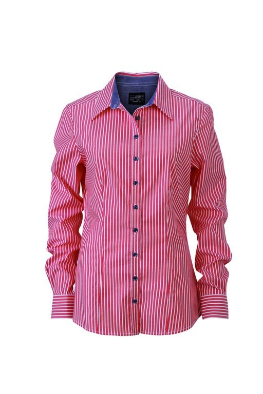 Ladies Contrast Stripe Blouse (B631 (JN631)) - Red/White/Navy