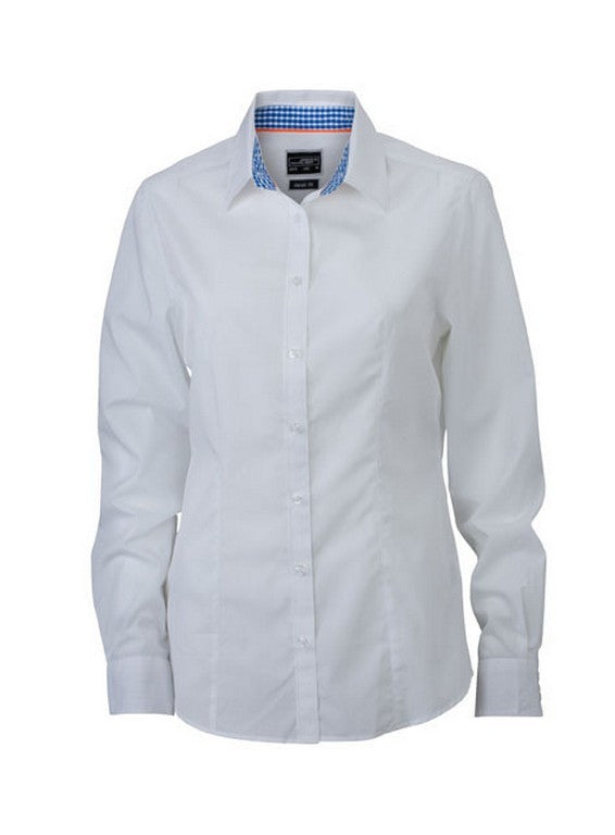 Ladies Check Contrast Blouse (B271 (JN618)) - White / Royal