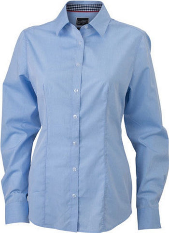 Ladies Check Contrast Blouse (B271 (JN618)) - Light Blue / Navy