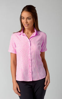 Olivia Ladies Short Sleeve Print Blouse (B203)