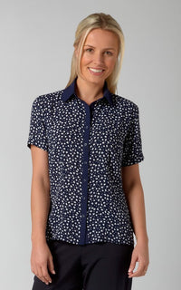 Ladies Short Sleeve  Print Blouse (B214)