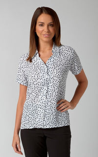 Heidi Ladies Short Sleeve Print Blouse (B215)