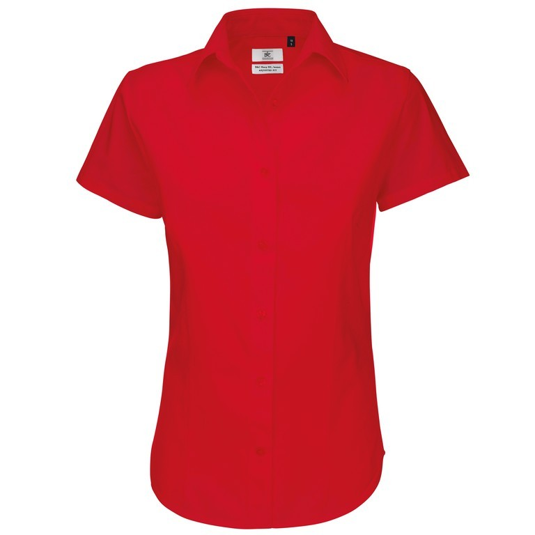 Ladies Short Sleeve Blouse (B198 (B713F)) - Red