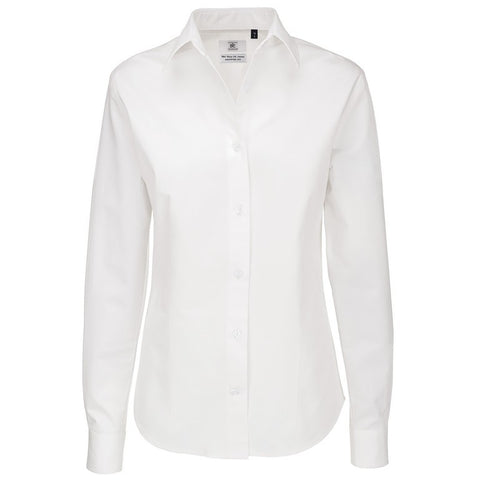 Ladies Long Sleeve Blouse (B197 (B712F)) - White