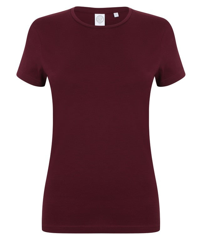 Ladies Stretch T-Shirt (TS90 (SK121)) - Burgundy