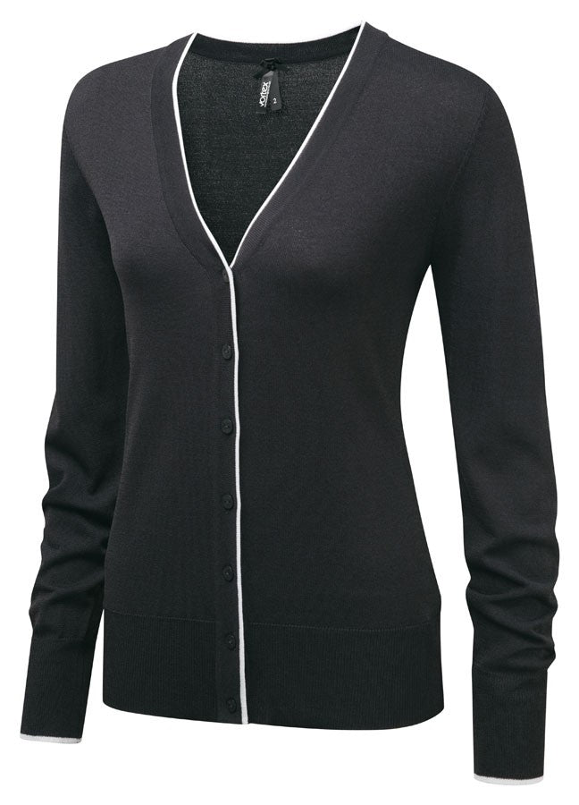 Ladies V-Neck Crepe  Cardigan (C219)