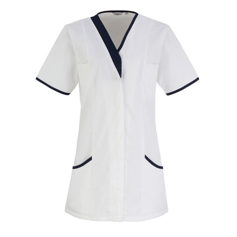 V-Neck HealthcareTunic (TU501 (PR605)) - White/Navy