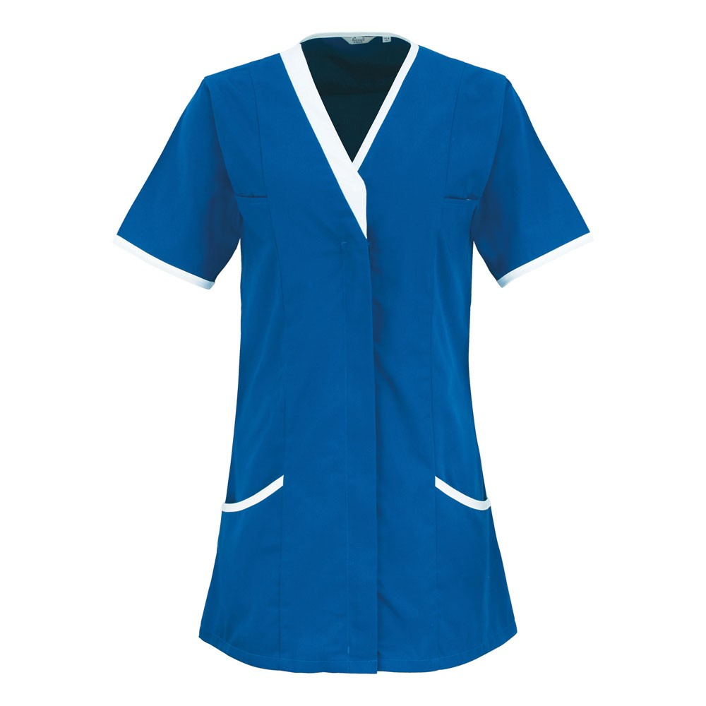 V-Neck HealthcareTunic (TU501 (PR605)) - Royal/White
