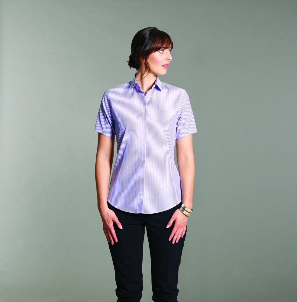 Ladies Striped  Short Sleeve Blouse (B228 (LH410, LH411))