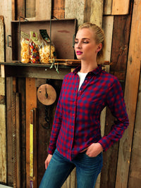Roll Sleeve Check Blouse (B350)