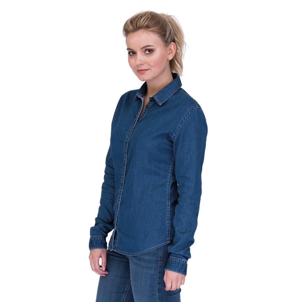 Ladies Denim Long Sleeve Blouse (B045)