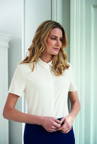 Ladies Fly Front Soft Short Sleeve Blouse (B252)