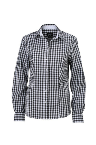 Ladies Check Blouse (B270 (JN616)) - Graphite/White