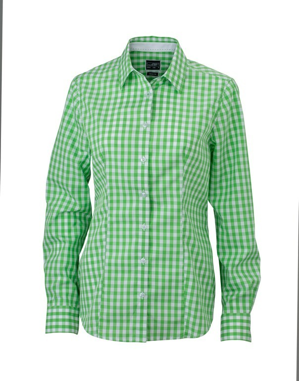 Ladies Check Blouse (B270 (JN616)) - Green/White