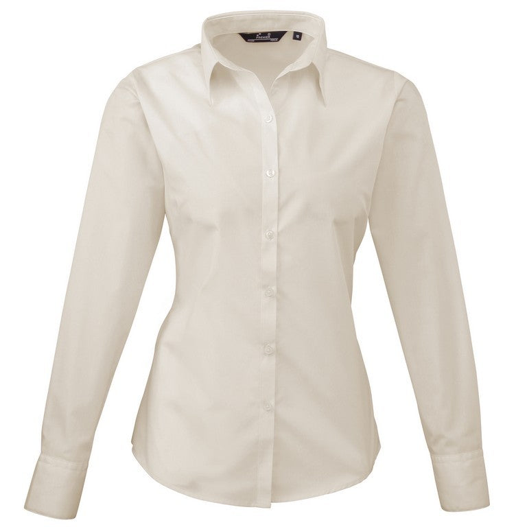 Ladies Easycare  Long Sleeve Blouse (B31 (PR300)) - Natural