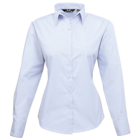 Ladies Easycare  Long Sleeve Blouse (B31 (PR300)) - Mid Blue