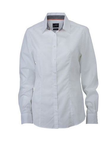 Ladies Check Contrast Blouse (B271 (JN618)) - White / Black