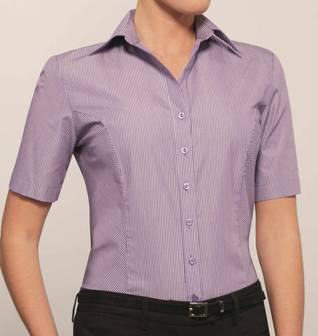 Ladies Short Sleeve Blouse (B232) - Purple/White