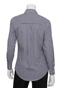 Ladies Dark Navy Gingham Long Sleeve Dress Shirt (W500BWK)