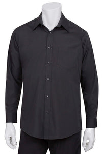 Mens Black Essential Long Sleeve Dress Shirt (D150)