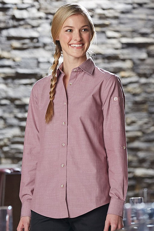Ladies Chambray Roll-Up Long Sleeve Tab Blouse (SLWCH002)