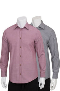 Mens Chambray Roll Up Long Sleeve Tab Shirt (SLMCH005)