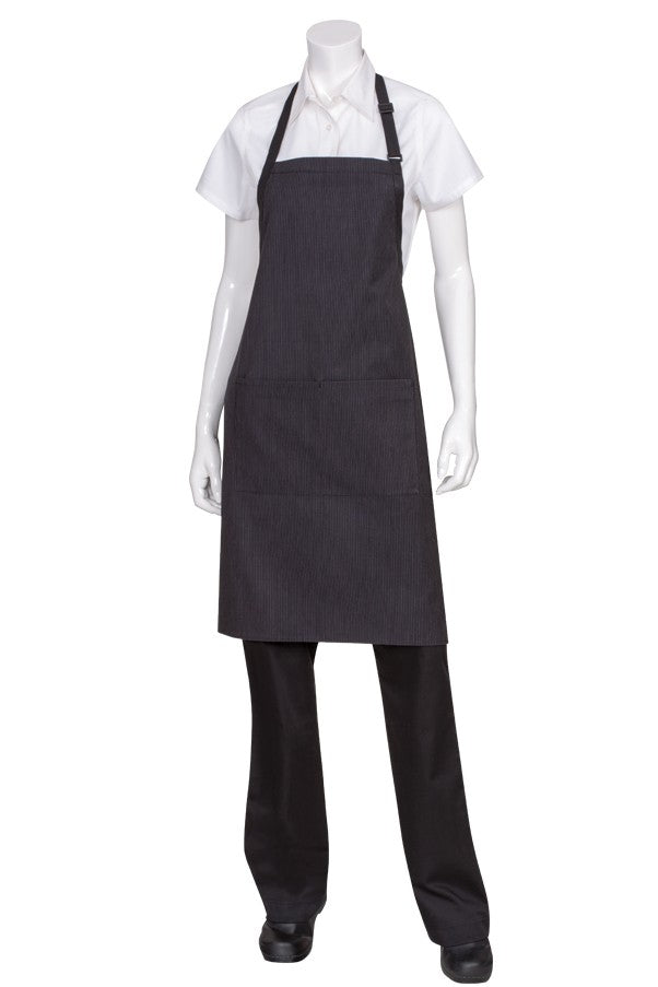 Butcher Pinstripe Apron with Contrasting Ties (AB012)