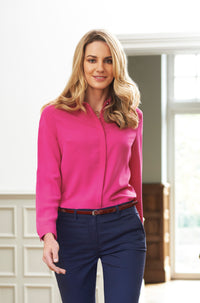 Ladies Fly Front Soft Long Sleeve Blouse (B257)