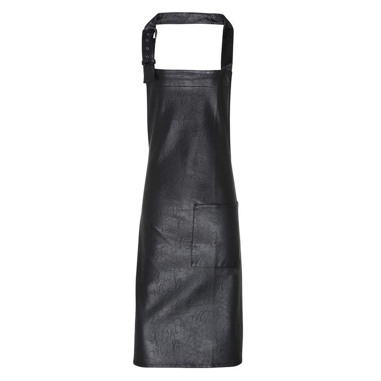 Faux Leather Bib Apron (A139)